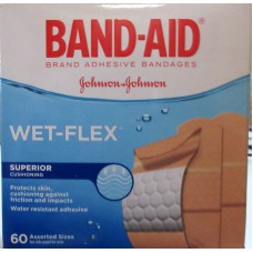 BandAids - Johnson & Johnson Brand - Wet Flex - Water Resistant - Assorted Sizes -  Plastic /   1 x 60 Strips