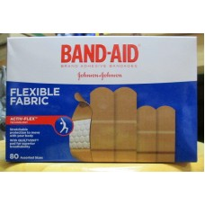 BandAids - Adhesive Bandages - Flexible Fabric - Assorted Sizes - Johnson & Johnson Brand - /  1 x 80 Bandages