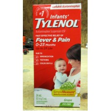 Baby - Tylenol - Infant's Acetaminophen Suspension USP - For  Ages 0- 23 Months / Up To 23 lbs / 24 ml / 80 mg / 1.0 ml / Concentrated Drops / Dye Free / Grape / 1 Box
