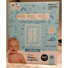 Wipes - Baby Wipes - Hello Bello Brand - Fragrance Free - Hypoallergenic - Biodegradable - Resealable Packs / 1 x 600 Wipes