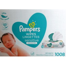 Wipes - Baby Wipes - Pampers Brand - Sensitive Wipes - Perfume Free - 14 Pop Tops / 1 x 1008 Wipes