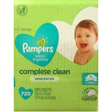 Wipes - Baby Wipes - Pampers Brand - Natural Clean - Unscented -  9 Pop Top Packs - 1 x 720 Wipes