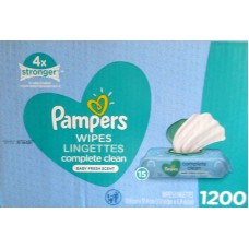 Wipes - Baby Wipes - Pampers Brand - Complete Clean - Baby Fresh Scent - 9 Pop-Top Packets / 1 x 720 Wipes