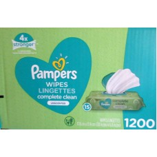 Wipes - Baby Wipes - Pampers Brand - Complete Clean - Unscented - 15 -Pop Top Packs / 1 x 1200 Wipes