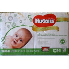 Wipes - Baby Wipes -  Huggies Brand - Natural Care Wipes - Aloe & Vitamin E - Hypoallergenic - Free Of Alcohol / 1 x 1056 Wipes