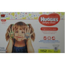 "Wipes - Baby Wipes -  Huggies Brand - Simply Clean Wipes - Fragrance Free - - 6 Refills / 1 x 1152 Wipes""""See Pictures For More Details"""""