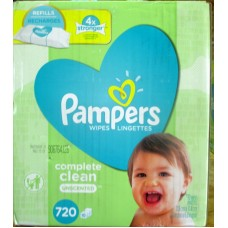 Wipes - Baby Wipes - Pampers Brand - Natural Clean - Unscented -  10 Refills Packs - 1 x 720 Wipes
