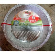 """Baking - Foil - Pie Plates - Aluminum - Eco Foil Brand  - Size Is /  9""""   x 1.2 """" Deep / 1 x 6 Plates"""
