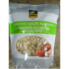 Nuts - Almonds - Blanched Sliced Almonds - Sunco Brand / 1 x 1.2 Kg Resealable Bag