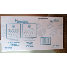 Coffee Filters - Connaisseur Brand - 12 Cup White Basket Coffee Filters - Commercial Or Institutional Use / 1 x 1000 Filters