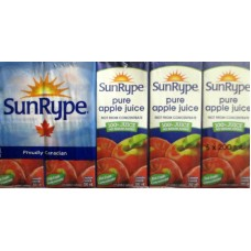 Juice - Apple Juice - Unsweetened - No Sugar Added - Sunrype Brand  - 100% Pure /  40 x 200 ml Boxes