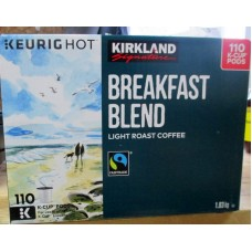 Coffee - Keurig Cups - Kirkland Brand - Breakfast Blend - Light Roast Coffee / 1 x 110 K-Cup Packs