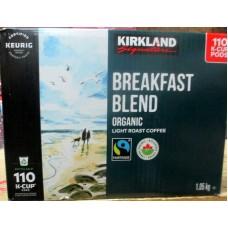 Coffee - Keurig Cups - Kirkland Brand - Breakfast Blend - Light Roast Coffee -Organic -Recyclable Cups / 1 x 110 K-Cup Packs