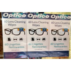 Wipes - Optico Brand - Cleaning Wipes - For Optical & Electronic Surfaces /  3 Boxes Of 60 Cloths / 180 Total