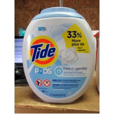 Detergent - Laundry Pods - Tide Brand - Free & Gentle - HE Product - Free Of Dyes & Perfumes - Gentle On Skin / 1 x 96 Pods