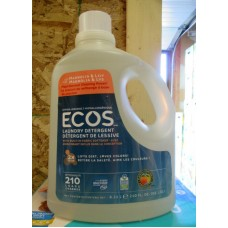 Detergent - Liquid Laundry - Ecos Brand - HE Product - Hypoallergenic Product With Built In Fabric Softner - Plant Derived Cleaning Power - Magnolia & Lily Scent / 210 Loads /1 x 6.21 Liter