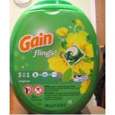 Detergent - Laundry Pods - Gain Flings - 3 In I With Detergent & Oxi Boost & Febreze - HE Product - Original - 1 x 81 Pods - 1.98 Kg
