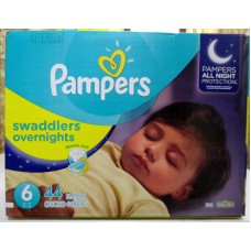 Diapers - Pampers - Step 6 - Swaddlers - Overnights - All Night Protection / 16+ Kg  / 35+ lbs / 1x 44  Diapers