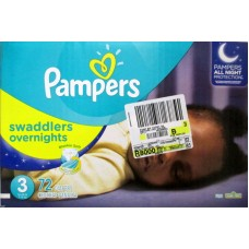 Diapers - Pampers - Step 3 - Swaddlers - Overnights - All Night Protection / 7 -15 Kg / 16 -28 lbs / 1x 72 Diapers