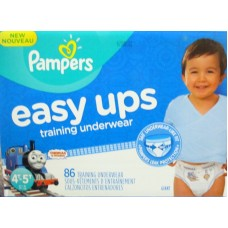 Diapers - Pampers - Easy Ups Trainers - Training Pants - Boys - Size 4T - 5T / 17+ Kg Up/ 37+ lbs Up / 1 x 86 Pants