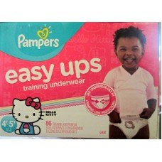 Diapers - Pampers - Easy Ups Trainers - Girls Training Pants - Size 4T-5T / 17+ Kg Up / 37+ lbs Up / 1 x 86 Training Pants