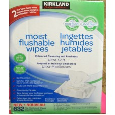 "Toilet - Flushable Wipes - Kirkland Brand - Pre- Moistened  Flushable Wipes / 1 x 632 Wipes / 10 x 60 Solo Packs & 2 Travel Packs Of 12 Count Each  """"See Details"""""