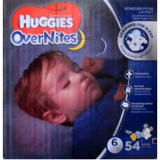 Diapers - Huggies - Overnites - Size #6 / For Over 16 Kg Babies   / Over 35 lbs  / 1 x 54 Diapers