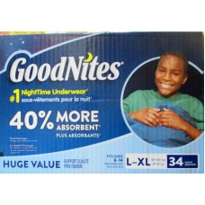 Diapers - Goodnites - Nighttime Underwear - Size L-XL - Fit Sizes 8-14 - 60-125+ lbs-27-57 Kg / 1 x 34 Diapers