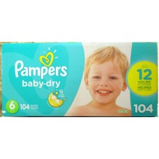 Diapers - Pampers - Step 6 - Pampers Baby Dry / 17 Kg And Up / 35 Lbs And Up / 1 x 104 Diapers