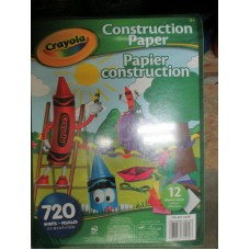 "Paper - Crayola Brand - Construction Paper - 1 x 720 Sheets - 12"" x 9"" / Multiple Colours"
