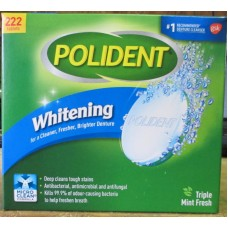 Toothpaste - Polident - Denture Cleaner - Triple  Mint  Fresh  - 1 x 222 Tablets / Mega Size
