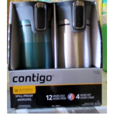 Contigo - Vacuum- Insulated Autoseal Travel Tumblers - 2 Pack Box - 1 x Blue Color & 1 x Stainless Steel Look - 1 x 2 Tumlers
