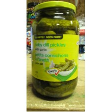 Pickles - Dills Pickles  With Garlic -  No Name Brand  - 1 x 1 Liter Glass Jar