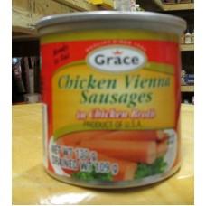Sausages - Chicken Vienna Sausages In Chicken Broth - Grace Brand - 4 x 130 Gram Cans