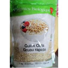 Cereal - Oats - Quick Oats - Organic / 1 x 1 KG Resealble Bag