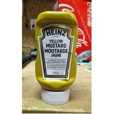 Mustard - Yellow Mustard - Up-Side Bottle -  Heinz Brand  / 1 x 375 ml Bottle