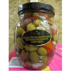 Olives - Greek Olive - Greek Olive Antipasto - Tassos Brand / 1 x 1.5 Liter Glass Jar