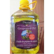 Oil - Grapeseed Oil - Ottavio Brand - All Natural Light Flavor / 1 X 3 Liter