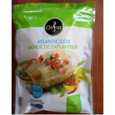 Frozen - Cod - Olivia Brand - Cod Fillets - Wild Caught Pacific Cod - Boneless - Skinless -  5 Fillets  / 1 x 907 Gram Bag / 2 lbs