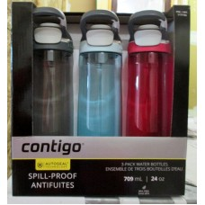 Contigo - Water Bottles - 3 Pack -  Leak & Spill Proof - BPA/Phthalate Free - Autoseal Technology - 24 Ounce Bottles  - 1 x 3 Bottles