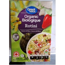 Pasta - Rotini - Organic Product - Great Value Brand / 1 x 450 Gram Box