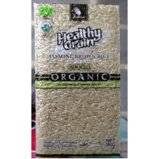 Rice - Jasmine Brown  Rice - Organic - Organically Grown - Product Of Thailand / 1 x 1 Kg Vacuum Sealed Bag