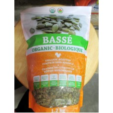 Nuts - Pumpkin Seed Kernels - Organic -  Lightly Salted - Roasted - Basse Brand  / 1 x 1.2 Kg Resealable Bag