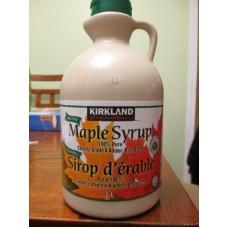 Syrup - Maple Syrup - Organic - 100 % Pure - Canada Grade A  Amber Kirkland Brand   / 1 x 1 Liter Jug