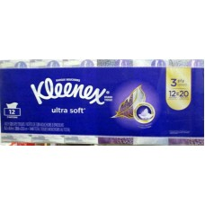 Tissue - Kleenex Brand - Facial -  3 Ply - Ultra Soft / 12 x 120 Sheet Boxes