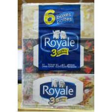 Tissue - Royale Brand - Facial -  3 Ply - Hypoallergenic / 6 Boxes x 72 Sheets