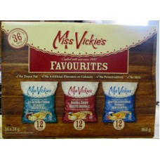 Chips - Miss Vickies Brand - Flavoured Kettle Cooked Potato Chips -  3 Flavour Variety Box - Sea Salt & Malt Vinegar & Original Recipe & Sweet Chili & Sour Cream / 18 x 24 Gram Bags