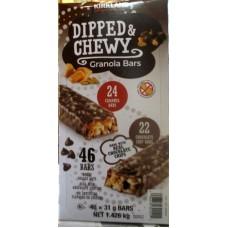 Granola Bars -  Dipped & Chewy - Kirkland Brand - 24 Caramel & 22 Chocolate Chip Bars - 46 x 31 Gram Bars - 1.426 Kg Box