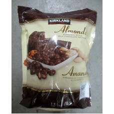 Nuts - Almonds - Chocolate Covered Almonds - Kirkland Brand - European Style / 1 x 1.5 Kg Resealable Bag