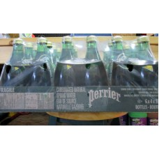 Water - Perrier Brand - Carbonated Natural Spring Water - 6 x 4 330 ml Glass Bottles = 24 Bottles